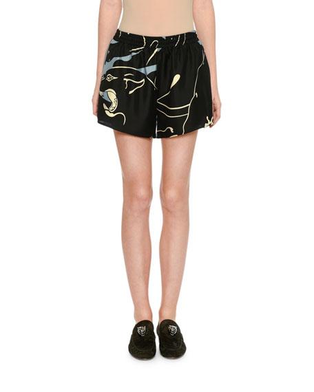 Valentino Silk Tiger-Print Shorts, Gray Pattern