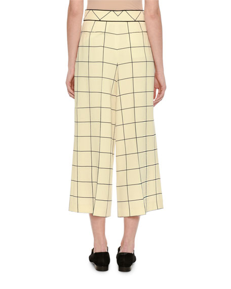 Windowpane Wool Culottes, Ivory