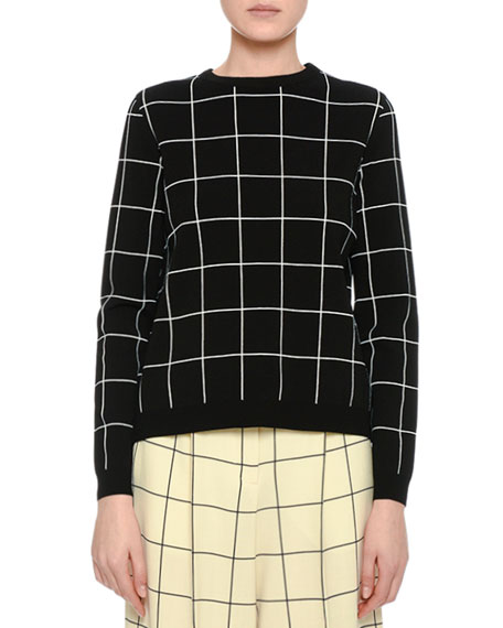 Valentino Windowpane Boxy Crewneck Sweater, Black and Matching