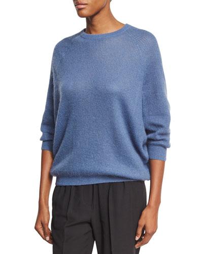 Ribbed Knit Crewneck Sweater, Blue