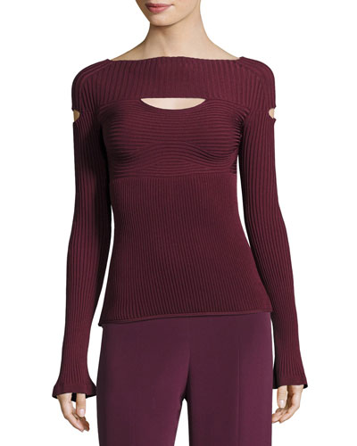 Ribbed Boat-Neck Top with Cutouts, Maroon