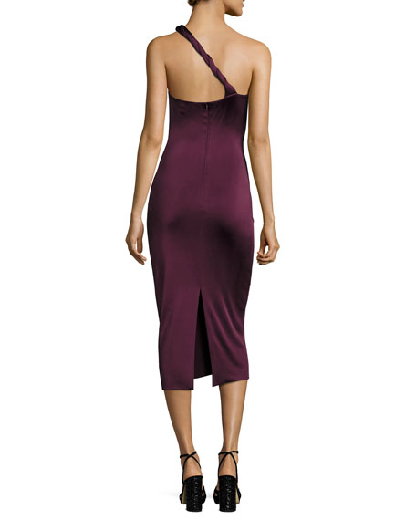 Twist-Strap One-Shoulder Cocktail Dress, Maroon