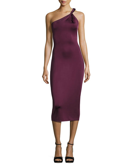 Cushnie Et Ochs Twist-Strap One-Shoulder Cocktail Dress, Maroon