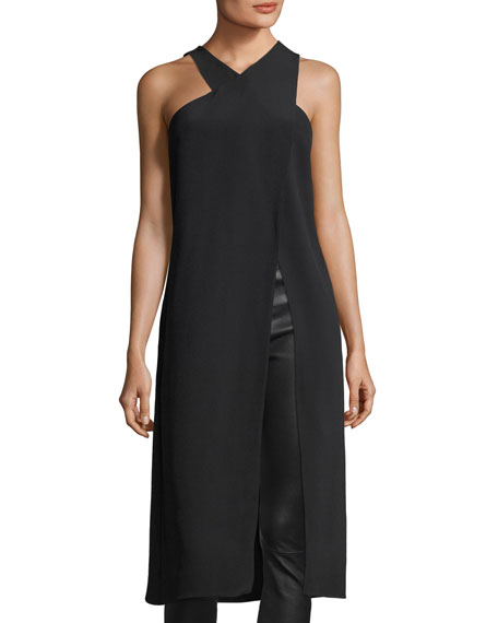 Cushnie Et Ochs Crossover High-Neck Sleeveless High-Slit Tunic