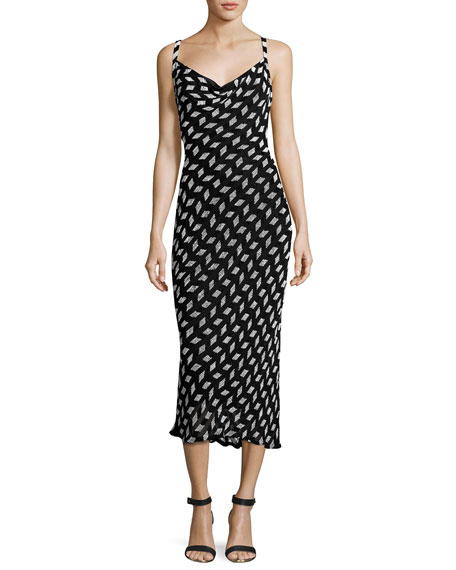BEADED CHIFFON COWL-NECK SLIP DRESS, BLACK/WHITE