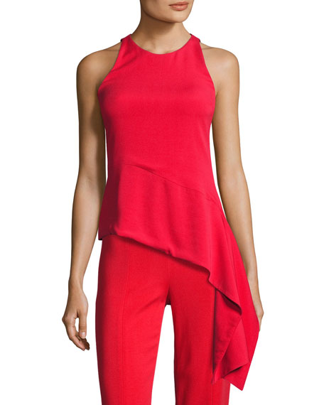 Stretch-Crepe Sleeveless Top with Asymmetric Hem, Red