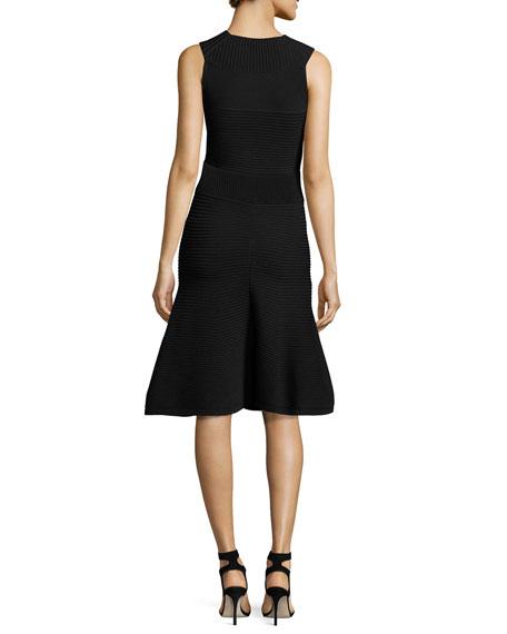 Ribbed Sleeveless A-Line Dress, Black