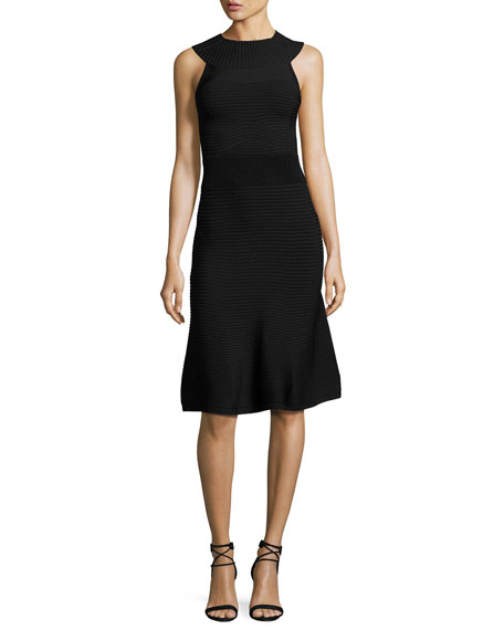 Cushnie Et Ochs Ribbed Sleeveless A-Line Dress, Black