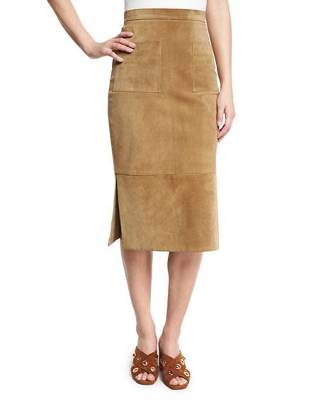 Cushnie Et Ochs Suede Side-Slit Pencil Skirt, Beige