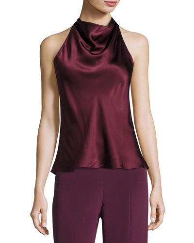 Silk Charmeuse Cowl-Neck Halter Top, Maroon