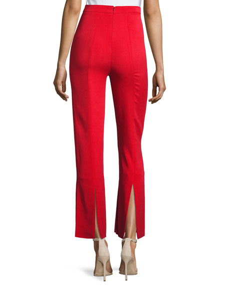 Stretch-Crepe Straight-Leg Pants with Car-Wash Hem, Red