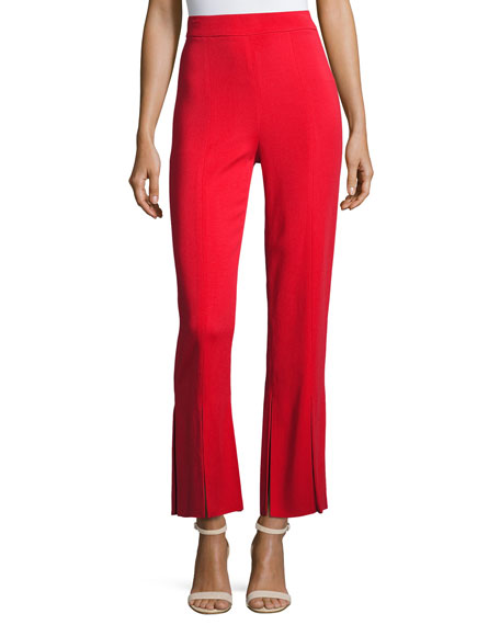 Cushnie Et Ochs Stretch-Crepe Straight-Leg Pants with Car-Wash