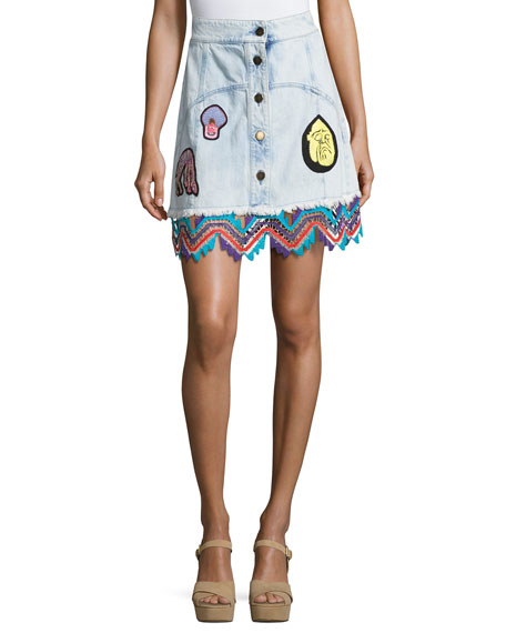 Peter Pilotto Embroidered Denim A-Line Miniskirt, Sky