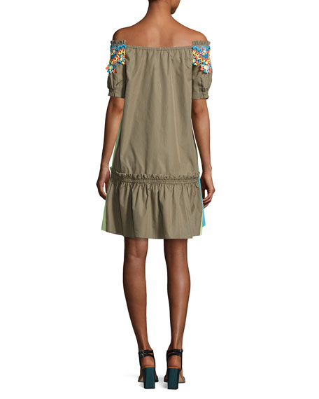 Colorblock Lace-Trim Off-the-Shoulder Minidress, Khaki