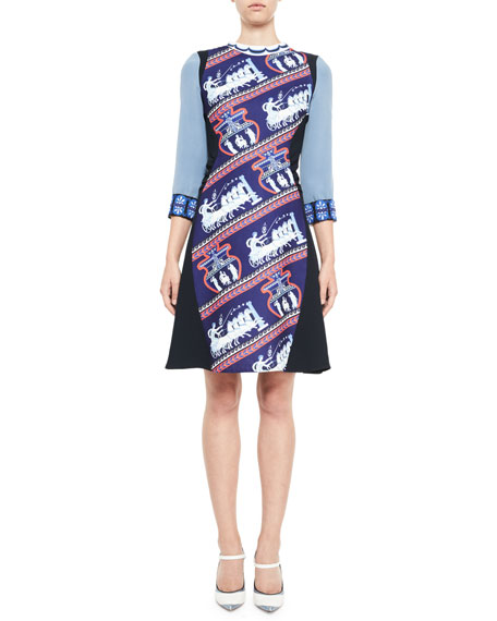 Chariot-Print 3/4-Sleeve Dress, Blue Bird