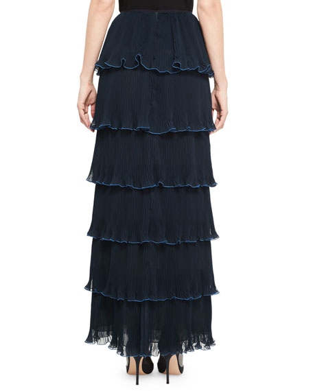 Pantheon Tiered Maxi Skirt, Navy
