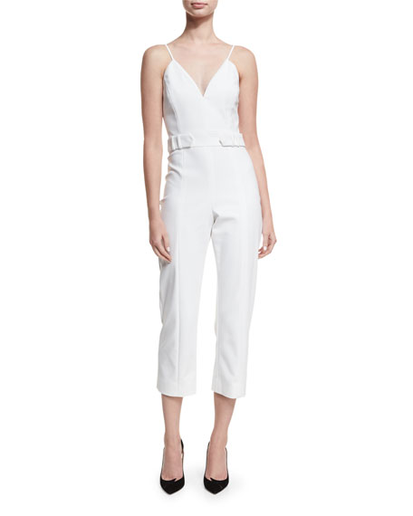 Cushnie Et Ochs Sleeveless Belted Cropped Jumpsuit