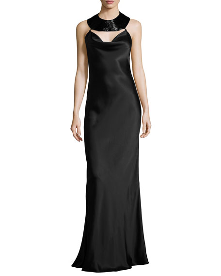 Cushnie Et Ochs Charmeuse Beaded-Collar Gown, Black