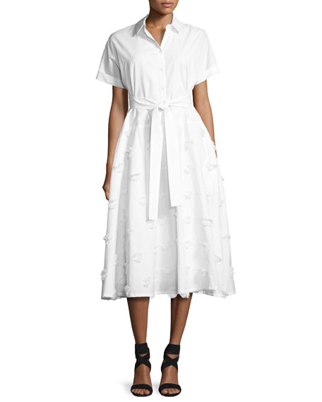 Embroidered Belted Shirtdress, White