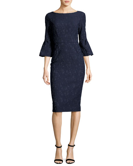 Lela Rose Textured Stretch-Jacquard Bell-Sleeve Sheath Dress,