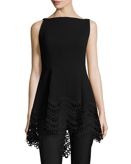 Lela Rose Boat-Neck High-Low Lace-Hem Top, Black and