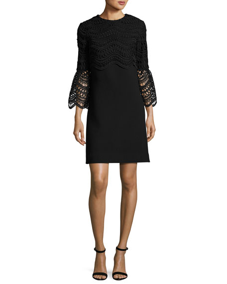 Lela Rose Bell-Sleeve Lace-Bodice Tunic Dress, Black