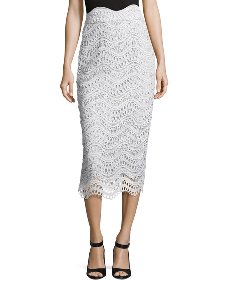 Lela Rose Scalloped Lace High-Waist Pencil Skirt, Light