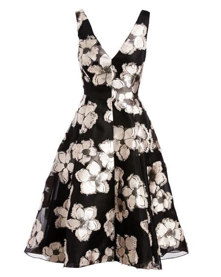 Metallic Floral Fil Coupé High-Low Dress, Blush/Black