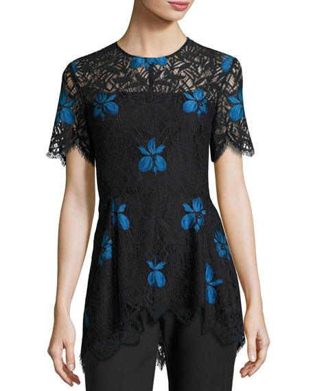 Lela Rose Short-Sleeve Lace High-Low Top