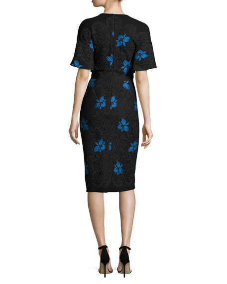 Flutter-Sleeve Floral Lace Sheath Dress, Black/Blue