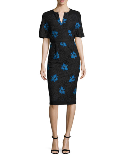 Flutter-Sleeve Floral Lace Sheath Dress, Black/Blue