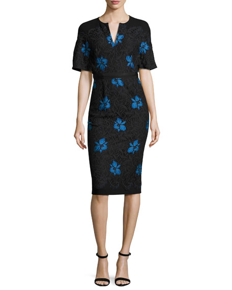 Lela Rose Flutter-Sleeve Floral Lace Sheath Dress, Black/Blue