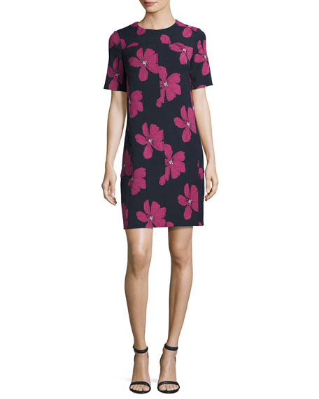 Lela Rose Floral Seamed Tunic Minidress, Blue/Pink