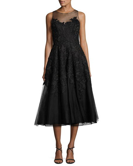 Liancarlo Metallic Floral-Lace Tulle Cocktail Dress, Black