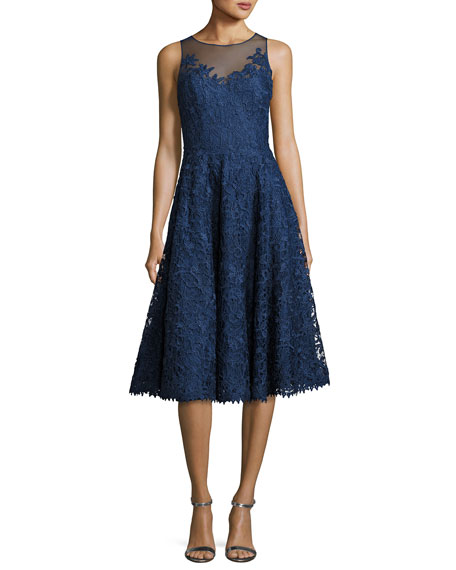 Floral Lace Illusion Cocktail Dress, Marine