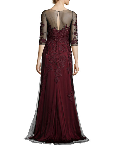 Scroll-Embroidered Illusion Tulle Gown, Merlot