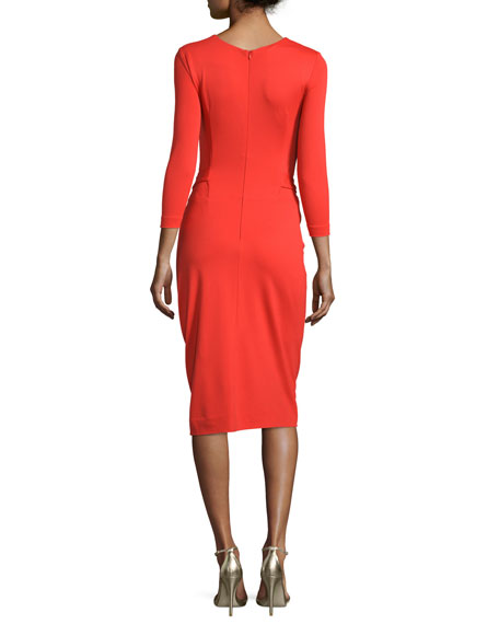 3/4-Sleeve Faux-Wrap Dress