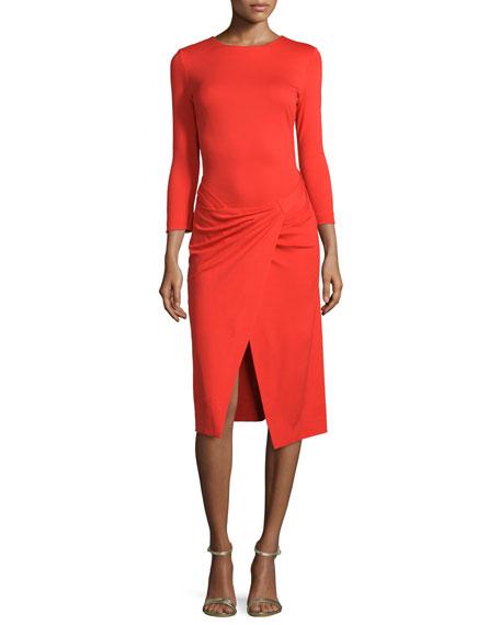 Escada 3/4-Sleeve Faux-Wrap Dress