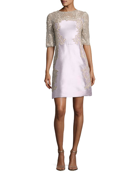 Marchesa Embroidered Half-Sleeve A-Line Cocktail Dress, Pink/Silver