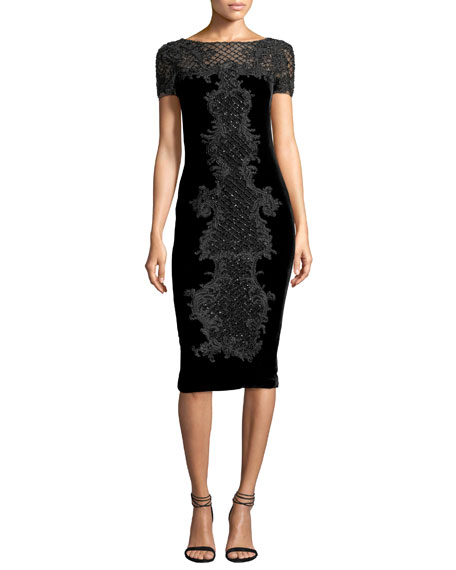 Marchesa Baroque Embroidered Velvet Cocktail Dress, Black