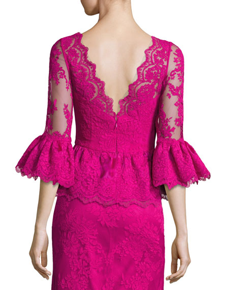 V-Neck Lace Peplum Top, Fuchsia