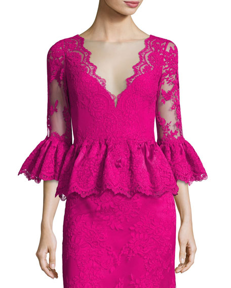 Marchesa V-Neck Lace Peplum Top, Fuchsia