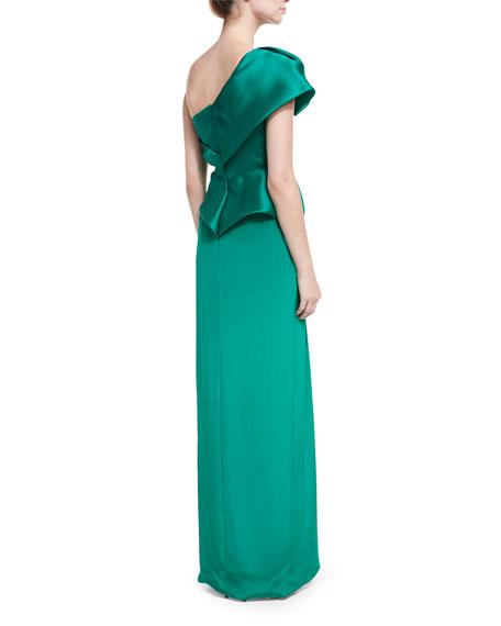 One-Shoulder Silk Satin Column Gown