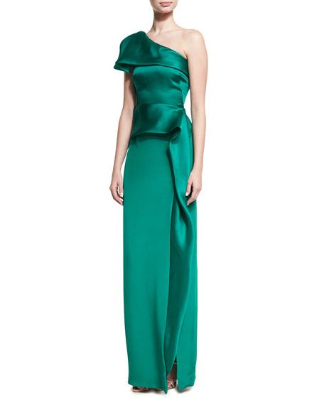 Marchesa One-Shoulder Silk Satin Column Gown