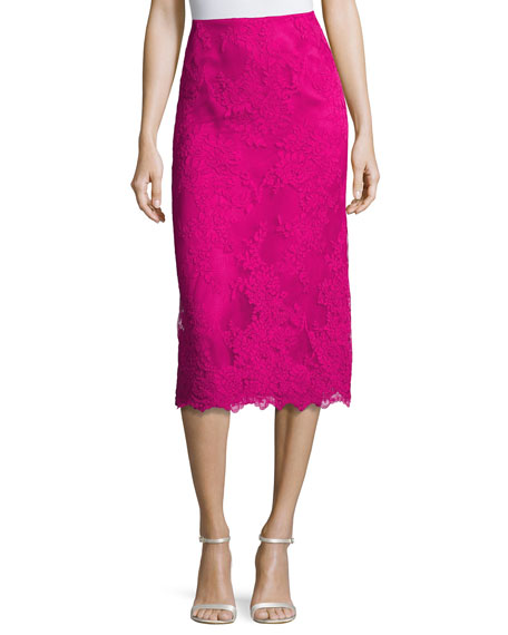 Marchesa Lace Pencil Skirt, Fuchsia
