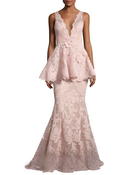Marchesa Sleeveless Plunging V-Neck Peplum Gown, Blush