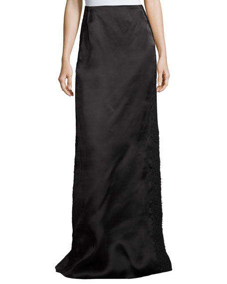 Lace-Border Satin Column Skirt, Black