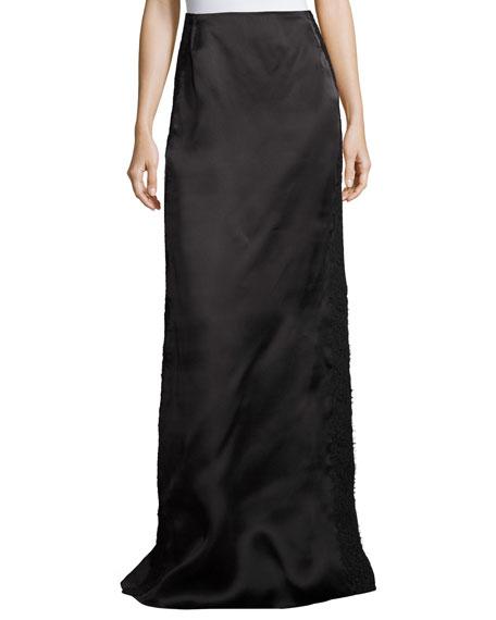 Lace-Border Satin Column Skirt, Black