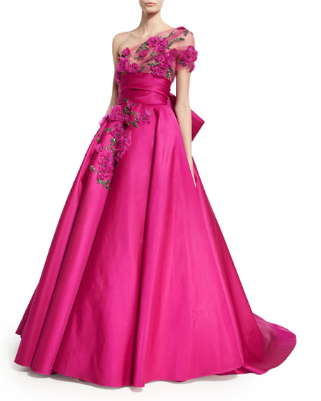 Marchesa Floral-Embroidered One-Shoulder Ball Gown, Fuchsia