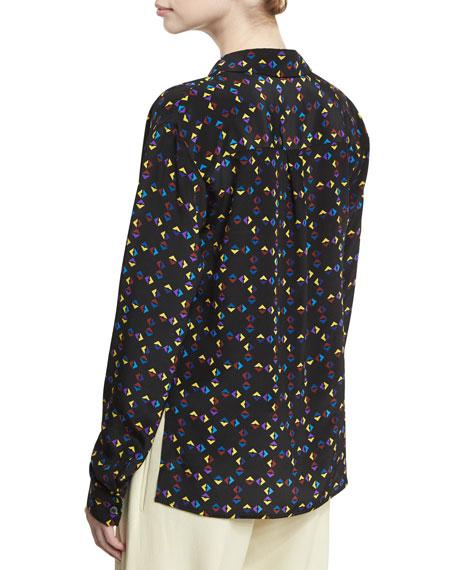 Cuneiform-Print Collared Silk Drape Blouse, Black
